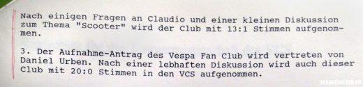 Auszug aus Protokoll DV VCS 7. 11. 1992- Aufnahme in VCS